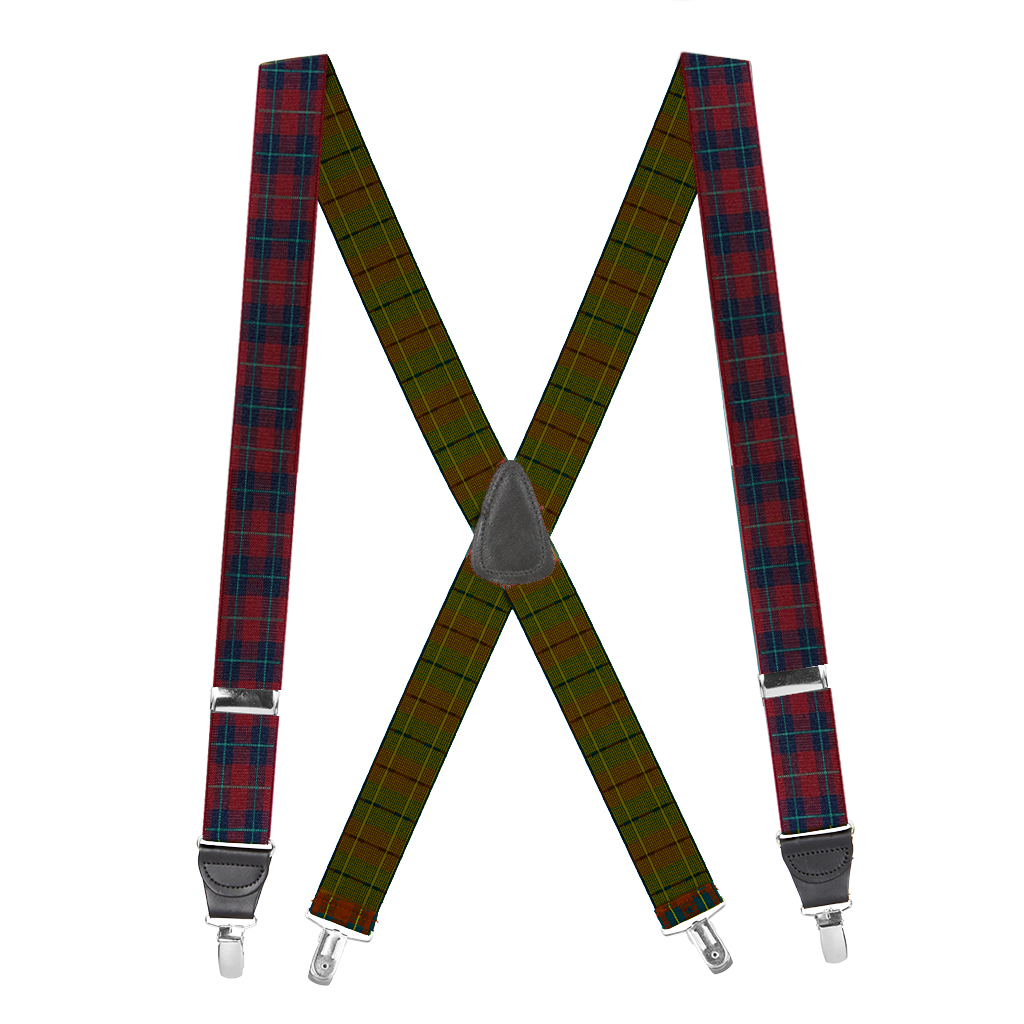 1.5-Inch Wide Plaid Drop Clip Suspenders in Burgundy - Full View
