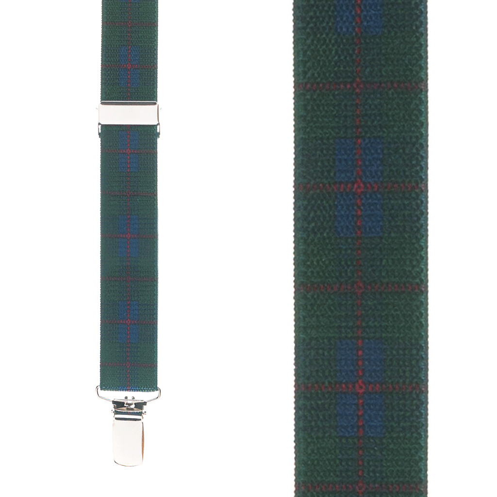 Plaid Suspenders in Green - Front View