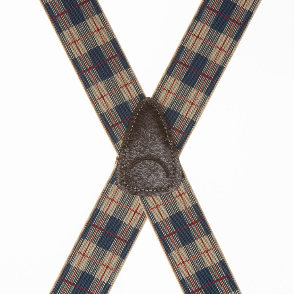 Beige Plaid Suspenders - 1.5 Inch Wide Clip