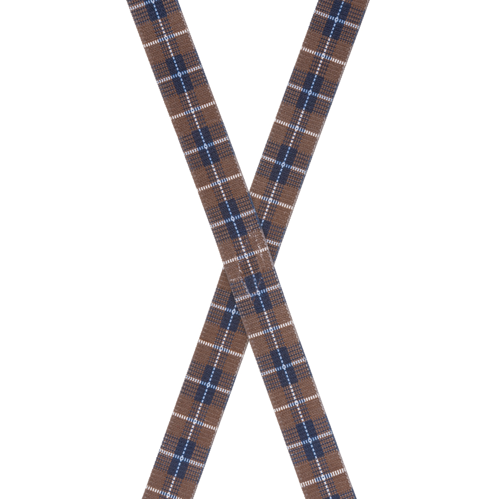 Plaid Suspenders in Brown - Rear View