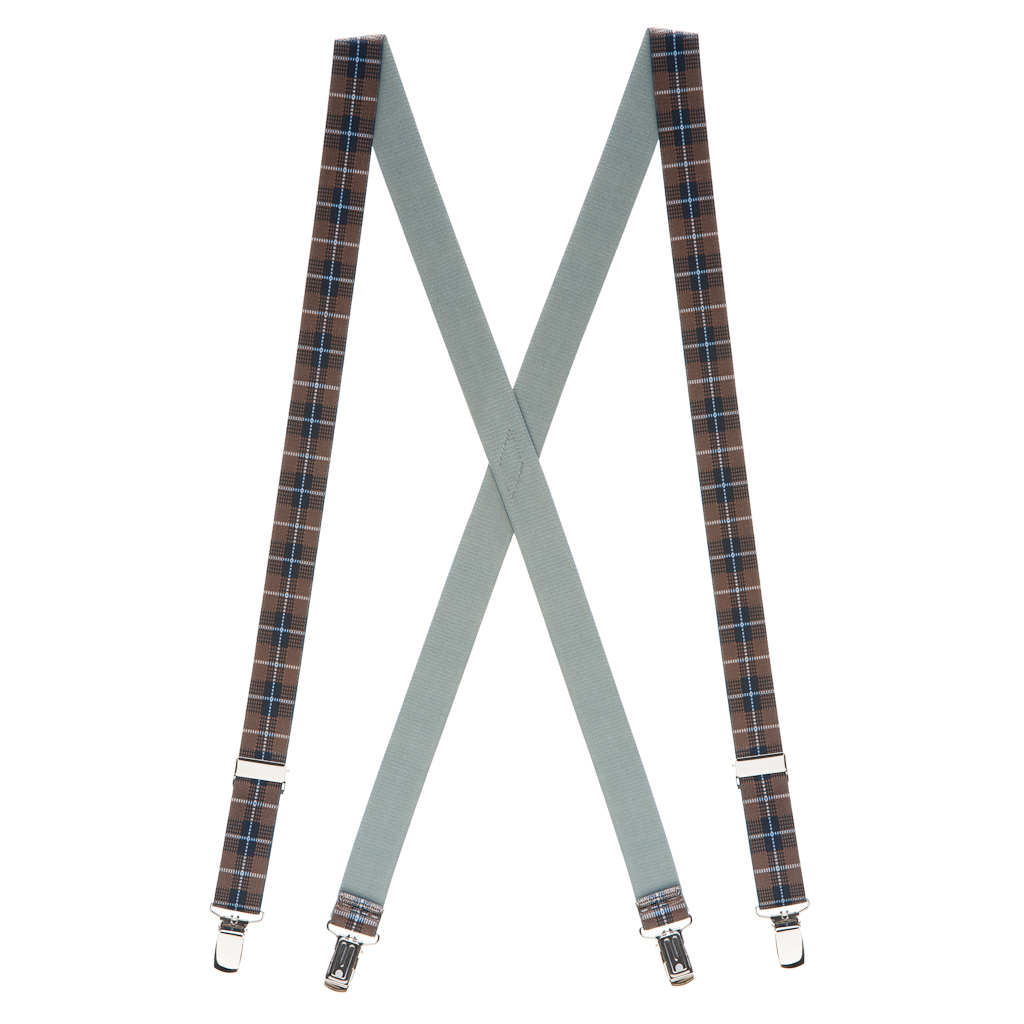 Plaid Suspenders in Brown - Full View