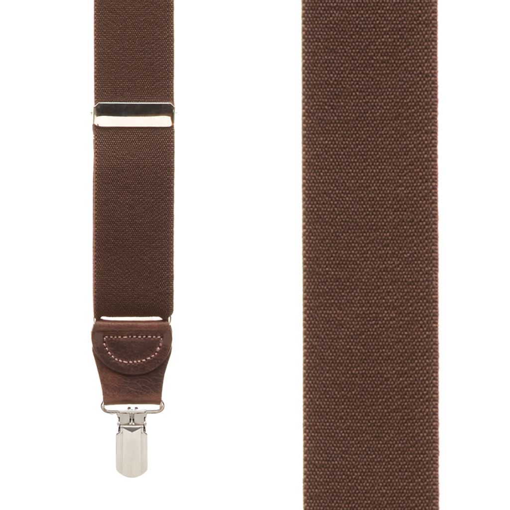 Pin Clip Suspenders in Brown - Front View