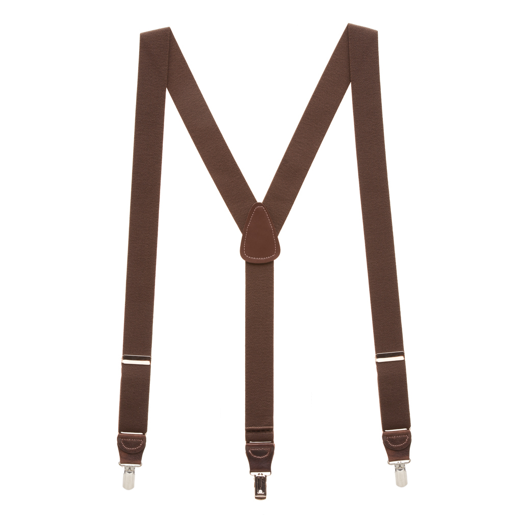 Pin Clip Suspenders in Brown - Full View