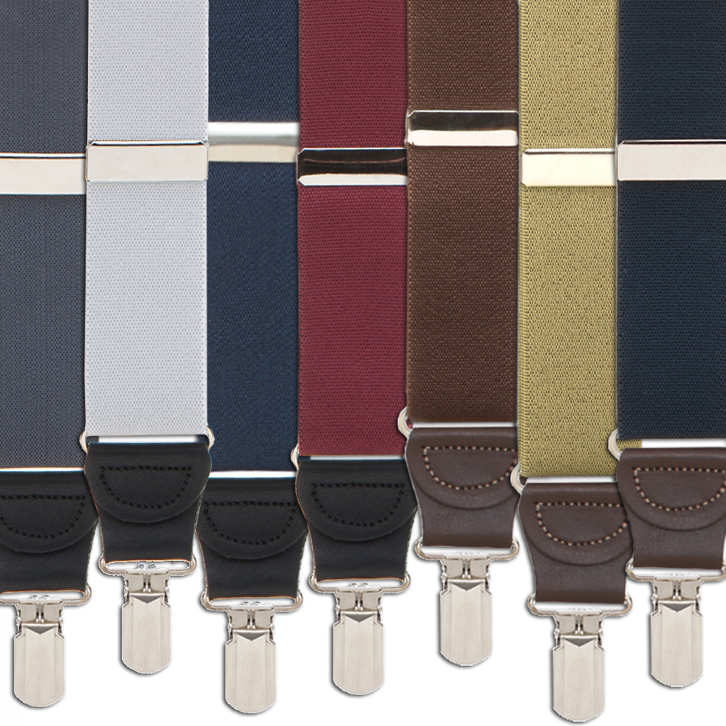 1.25 Inch Wide Solid Pin Clip Suspenders - All Colors