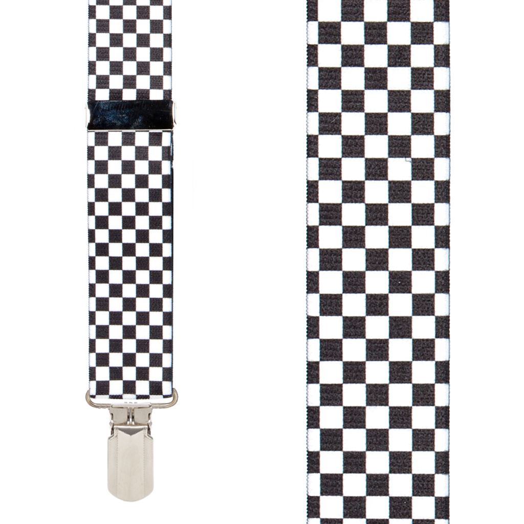 Big & Tall Novelty Pin Clip Suspenders in Checks - Front View
