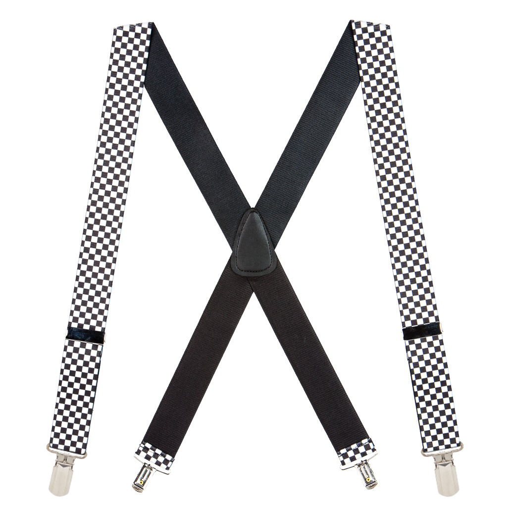 Big & Tall Novelty Pin Clip Suspenders in Checks - Full View