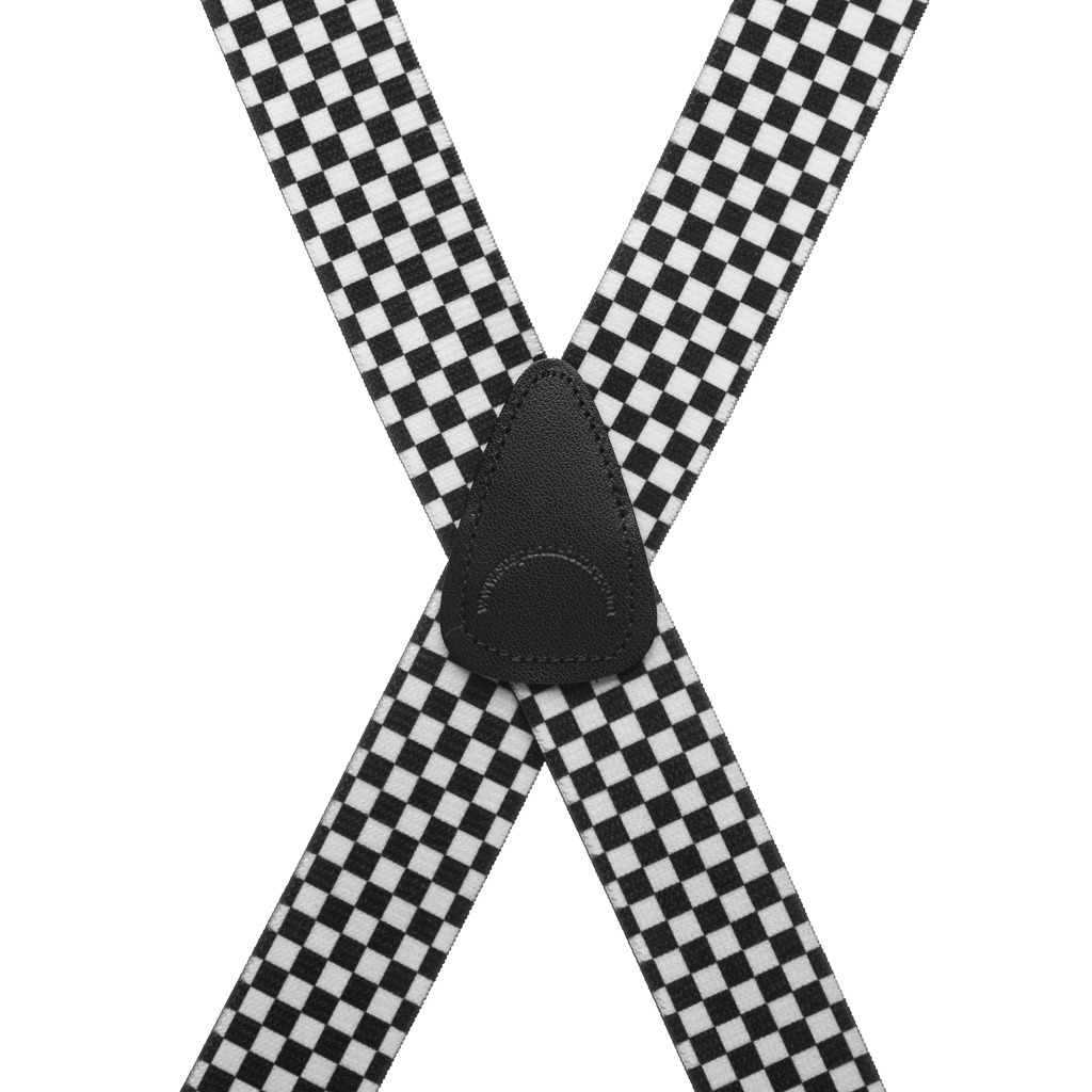 Big & Tall Novelty Pin Clip Suspenders in Checks - Rear View