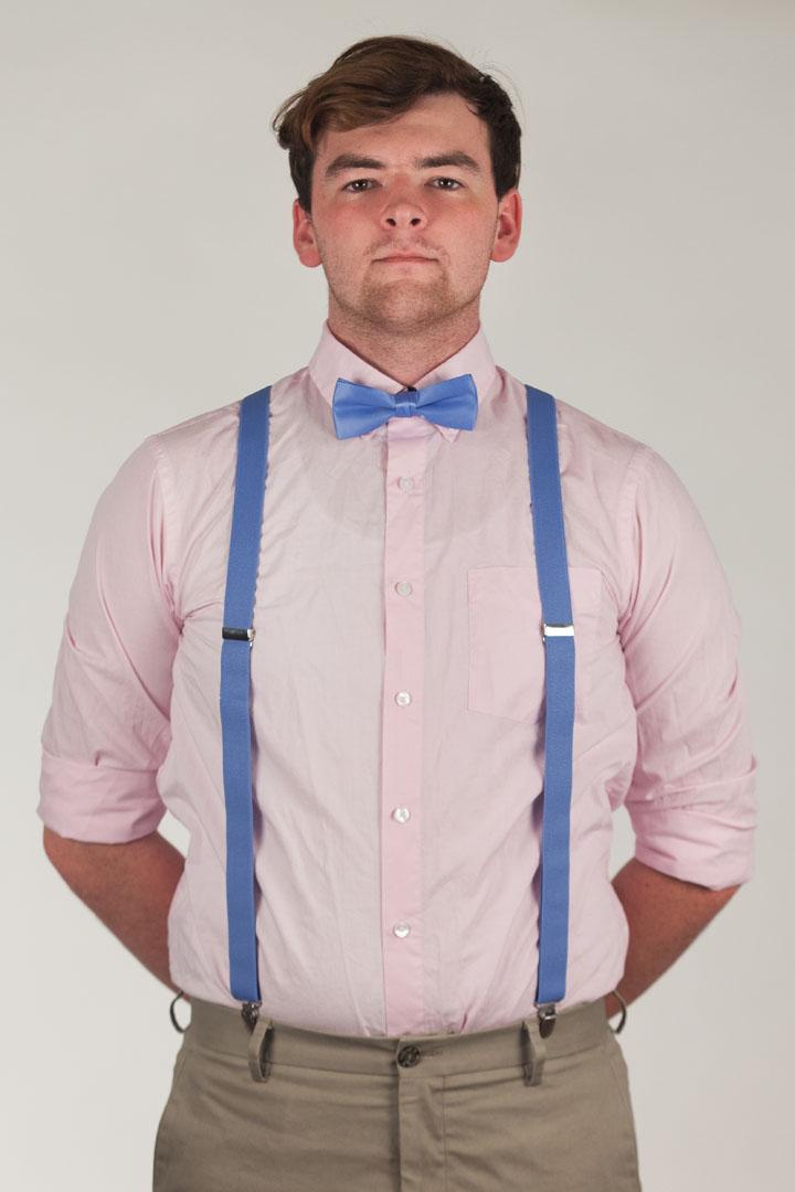 Model wearing suspender & bow tie set