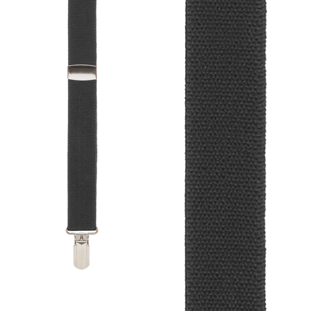 BLACK 1-Inch Small Pin Clip Suspenders