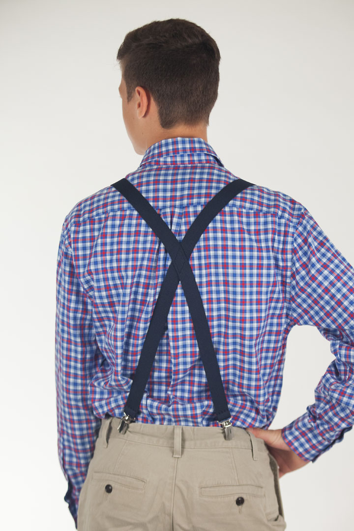 NAVY 1-Inch Small Pin Clip Suspenders