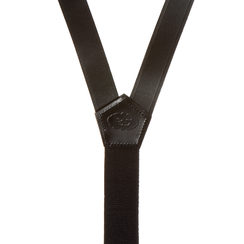 Police All Leather Suspenders - Convertible