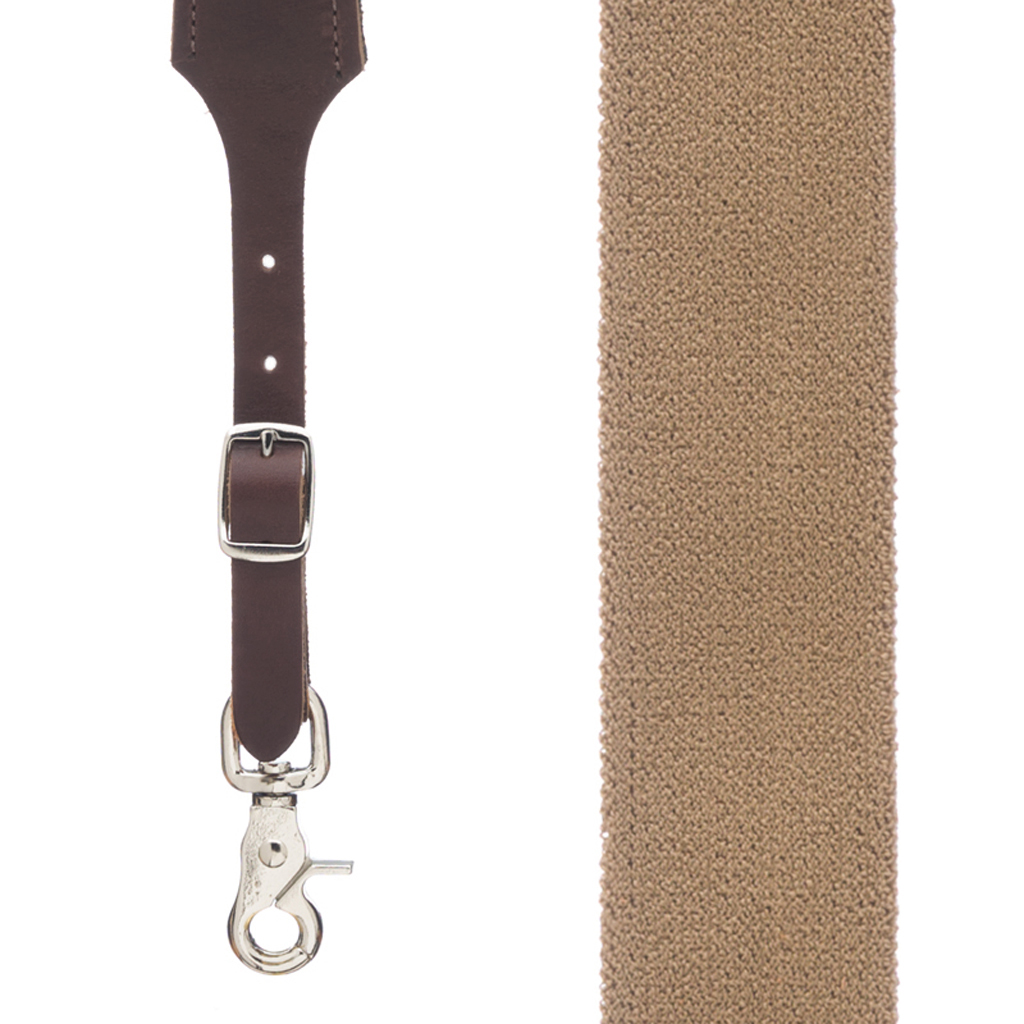 Rugged Comfort Suspenders Trigger Snap in Desert - Front View
