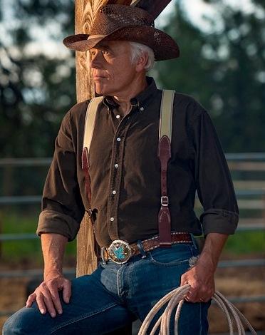 Model wearing Belt Loop suspenders
