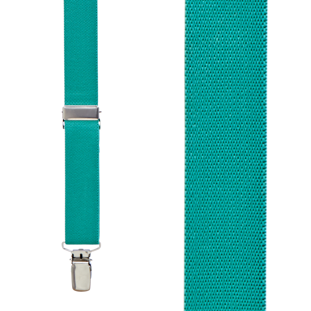 1 Inch Wide Clip X-Back Suspenders in Teal - Front View
