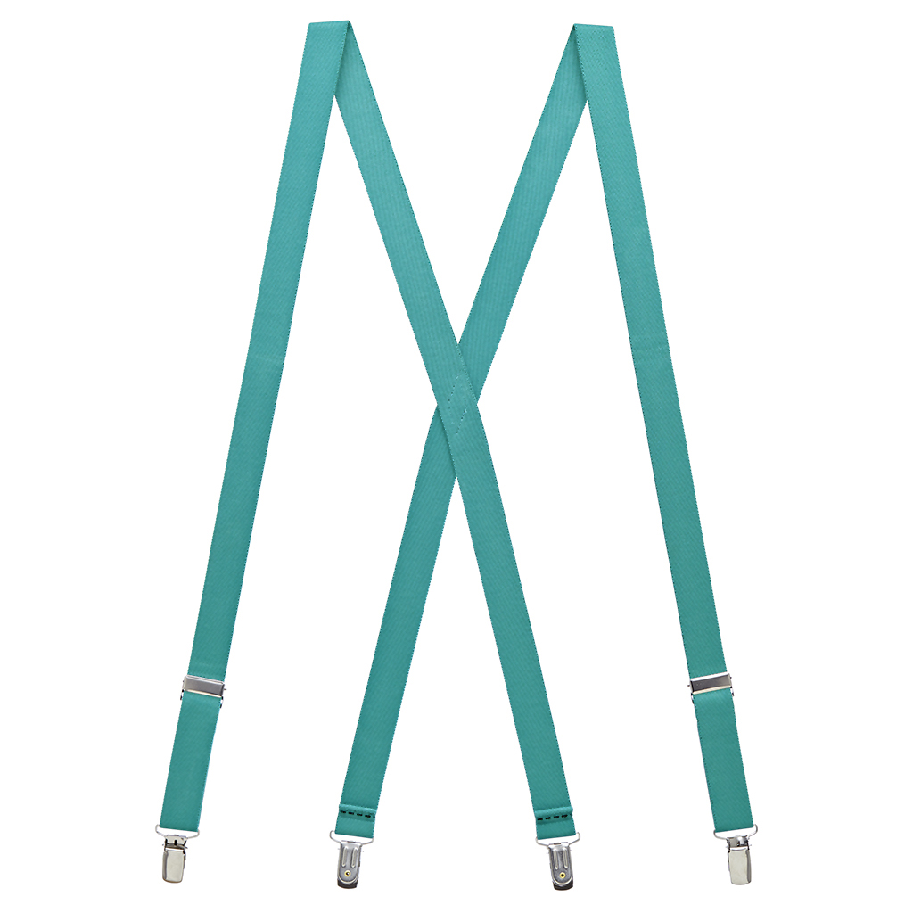 1-Inch Wide Suspenders in Teal - Full View