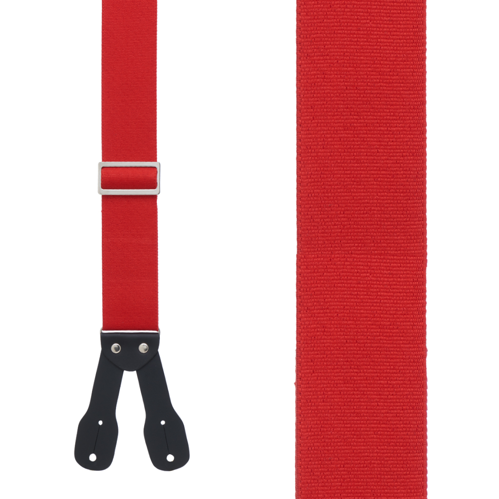 Logger Button Suspenders in Red - Front View