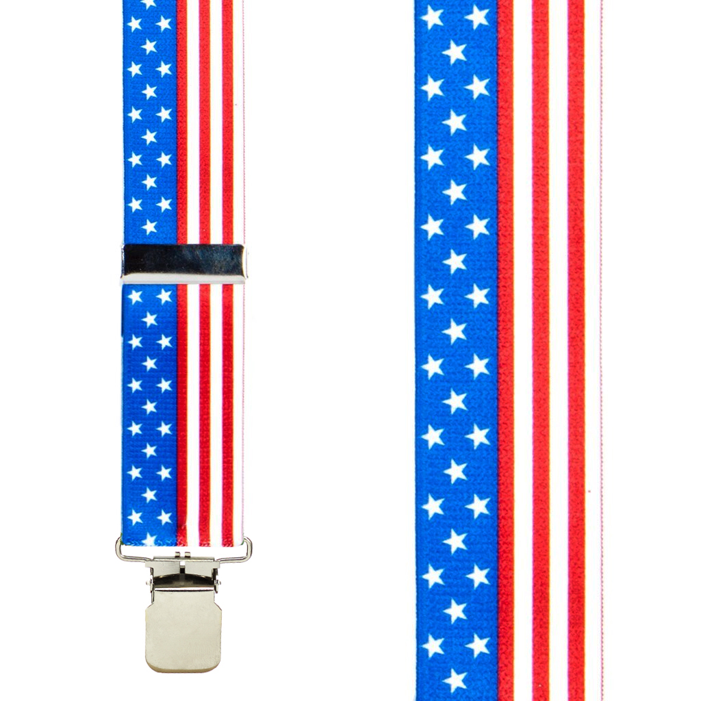 American Stars and Stripes Suspenders - 1.5 Inch Wide, Construction Clip - SALE