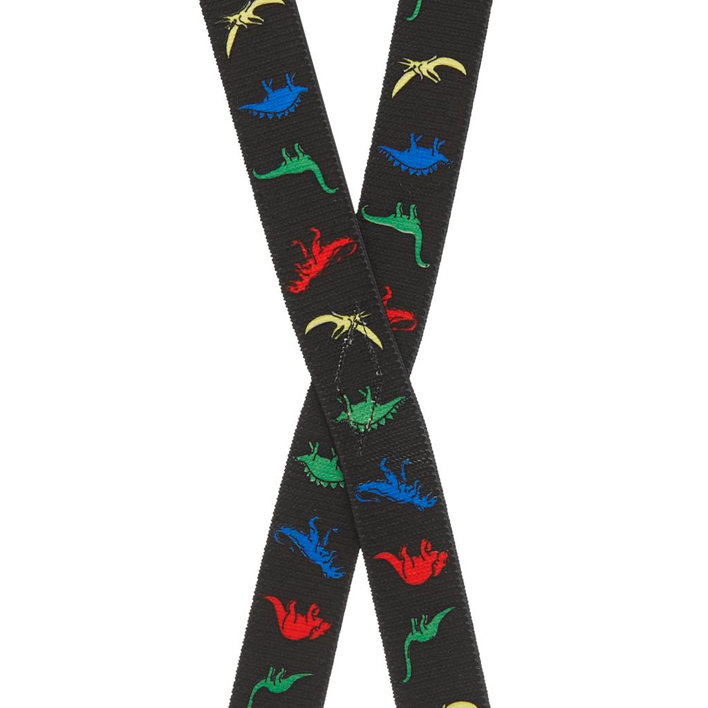 Dinosaurs on Black Suspenders for Kids