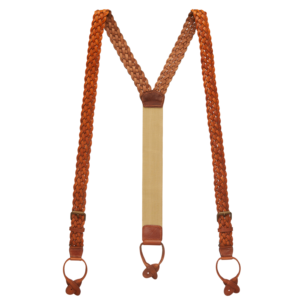 Handwoven Braided Leather Button Suspenders in Tan - Full View
