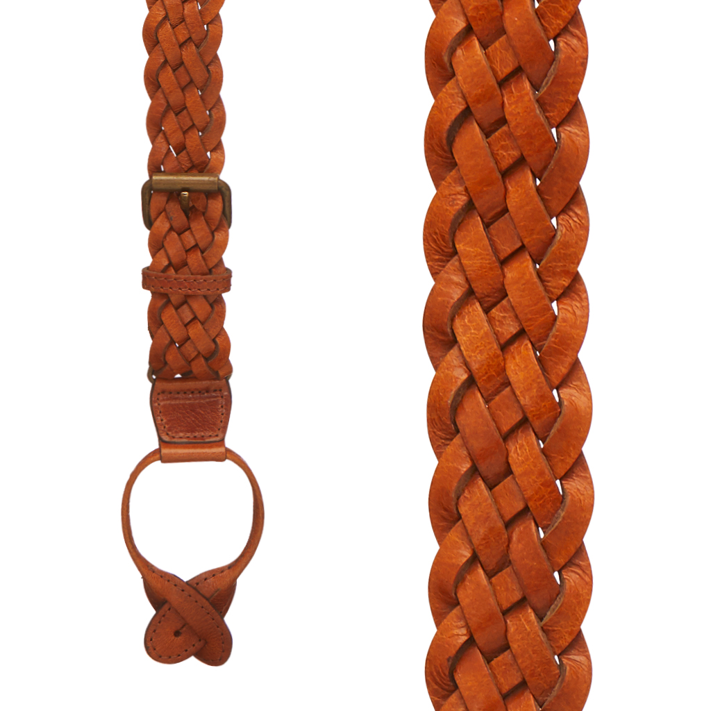 Handwoven Braided Leather Button Suspenders in Tan - Front View