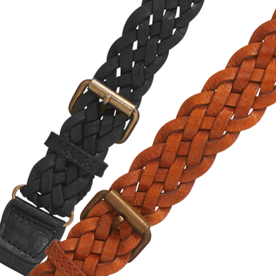 Handwoven Braided Leather Button Suspenders - All Colors