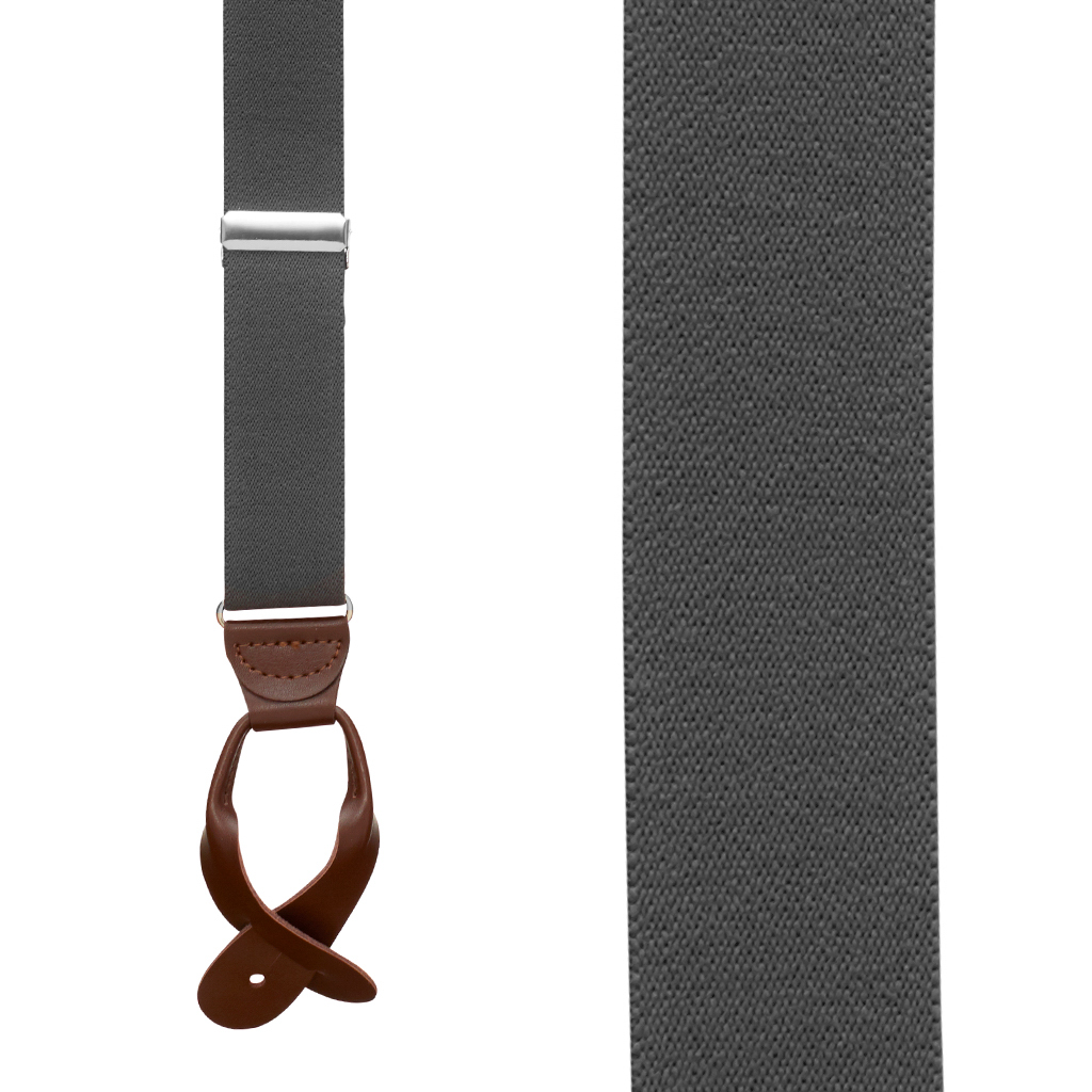 1.25 In Wide Button Suspenders - DARK GREY with Brown Leather