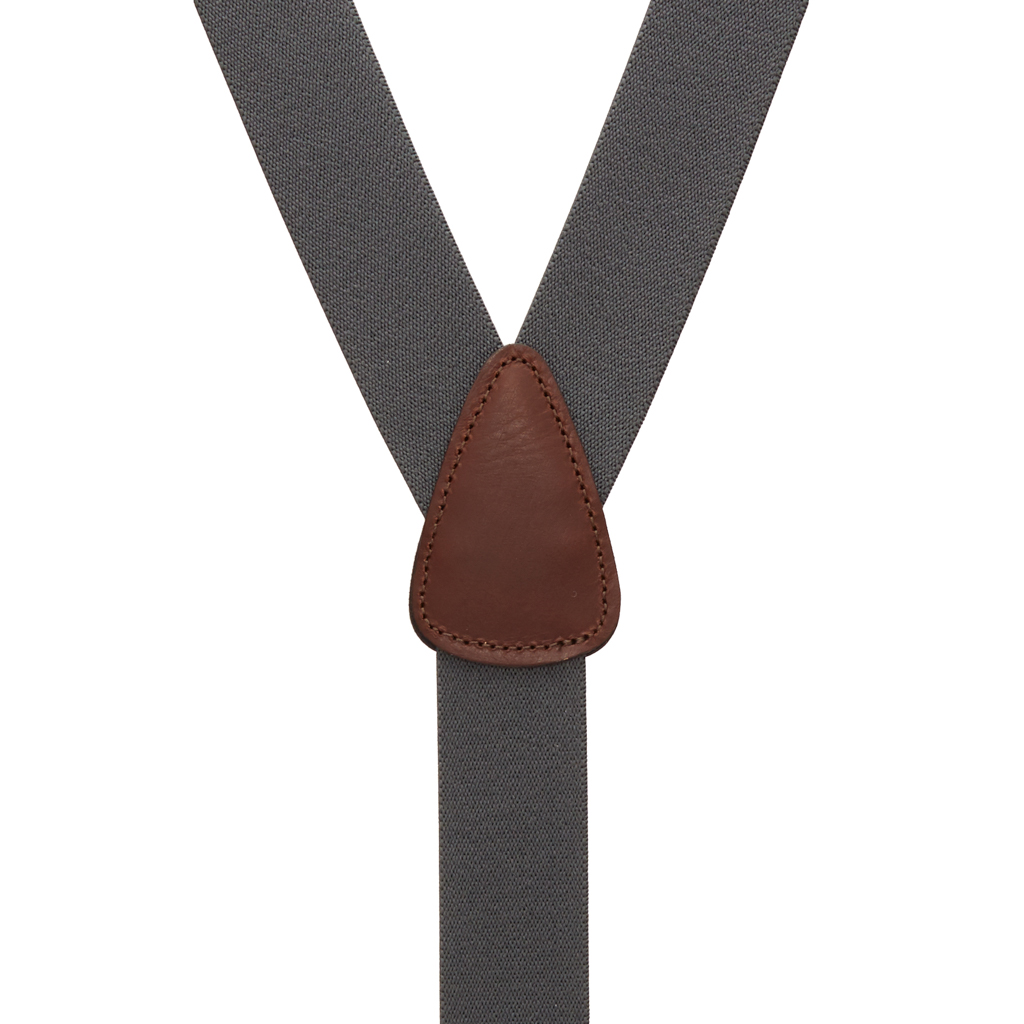 1.25 Inch Wide Y-Back Clip Suspenders in Dark Grey with Brown Leather - Rear View