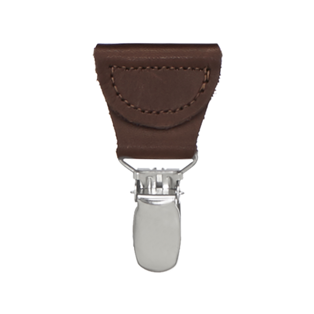 1.25 Inch Wide Y-Back Clip Suspenders - DARK GREY with Brown Leather