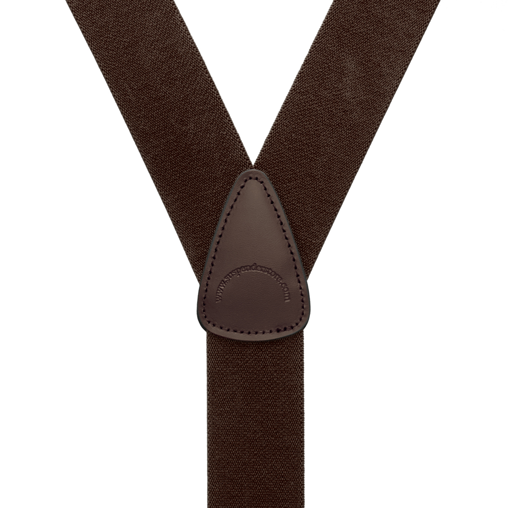 Rear View - 1.5 Inch Wide Trigger Snap Suspenders - BROWN