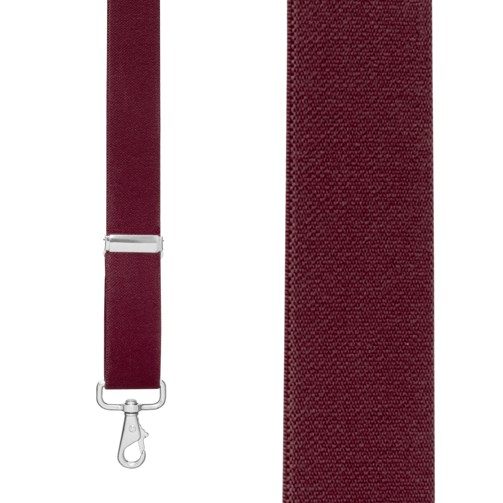 Front View - 1.5 Inch Wide Trigger Snap Suspenders - BURGUNDY