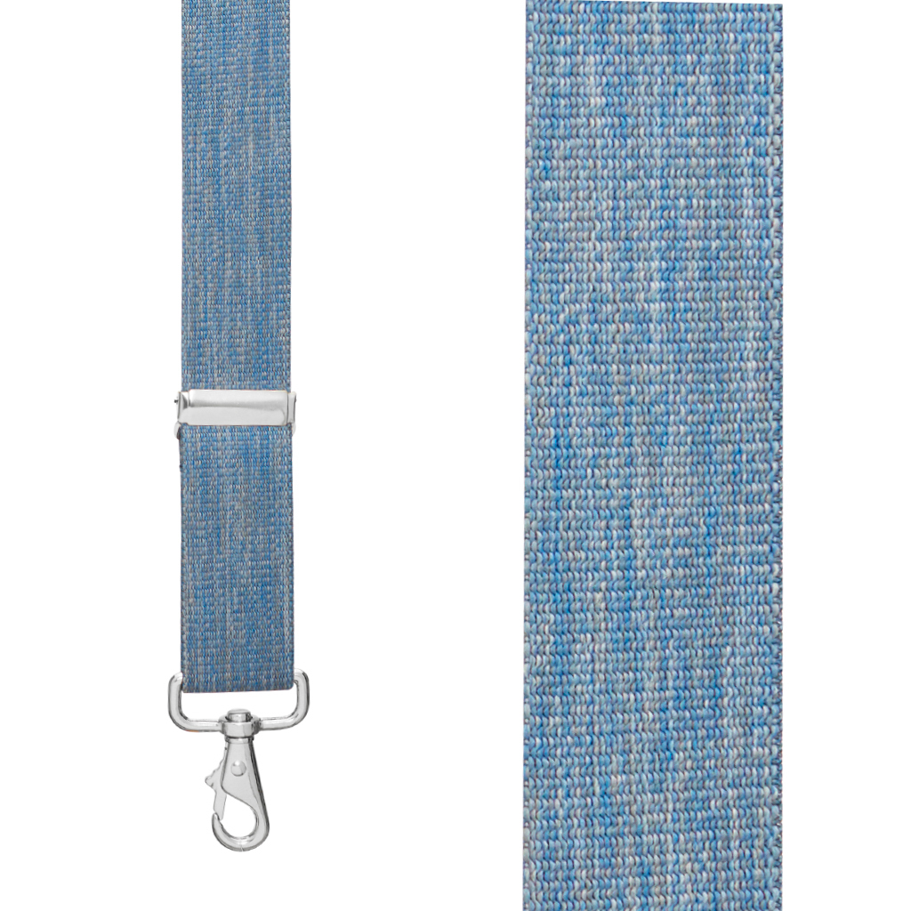 Front View - 1.5 Inch Wide Trigger Snap Suspenders - DENIM