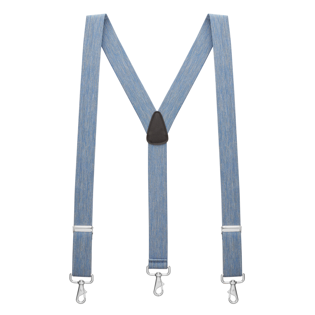Full View - 1.5 Inch Wide Trigger Snap Suspenders - DENIM