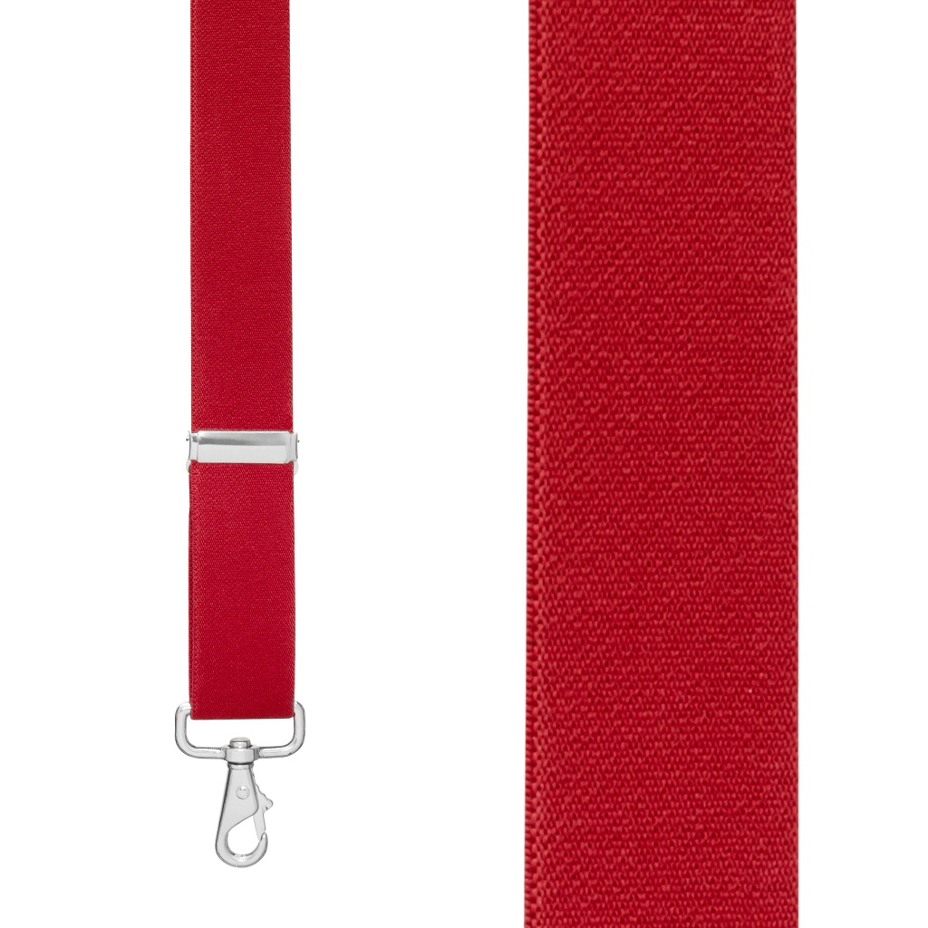 Front View - 1.5 Inch Wide Trigger Snap Suspenders - RED