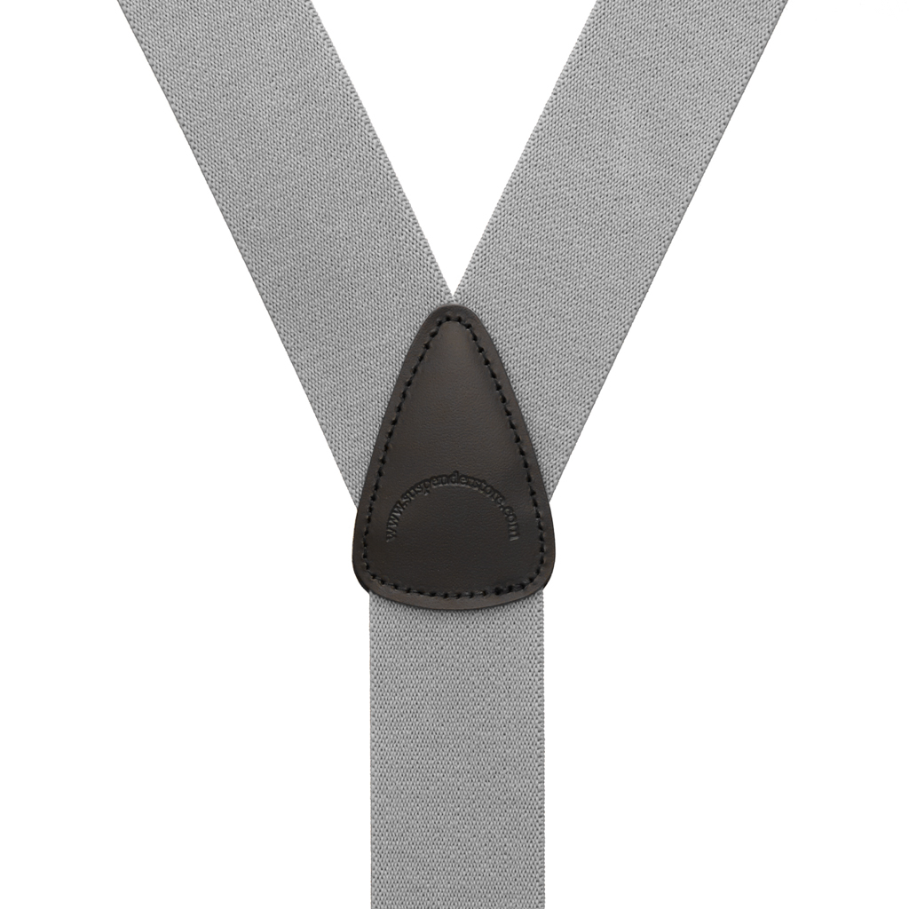 Rear View - 1.5 Inch Wide Trigger Snap Suspenders - LIGHT GREY