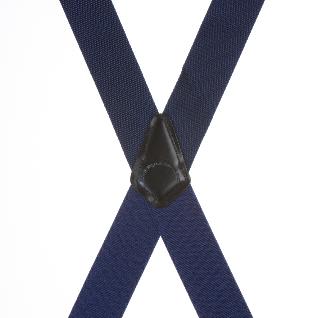 Heavy Duty Work Suspenders with Pin Clips in Navy - Rear View