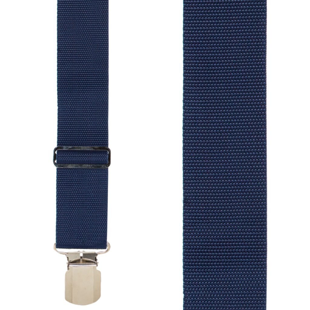 Heavy Duty Work Suspenders with Pin Clips in Navy - Front View