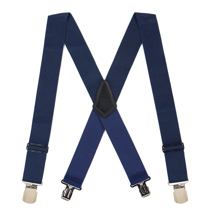 Heavy Duty Work Suspenders with Pin Clips in Navy - Full View