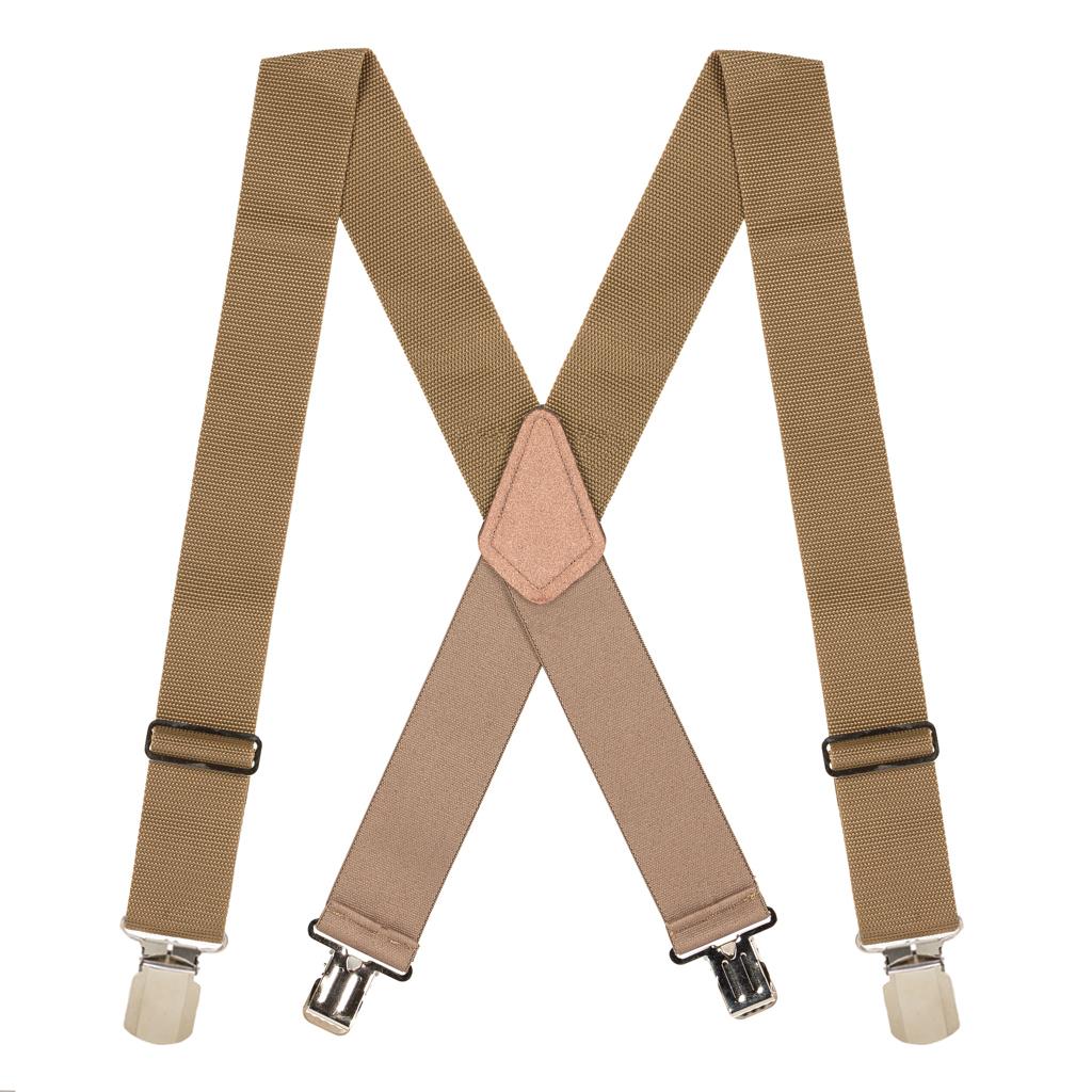 Work Suspenders in Tan - Full View