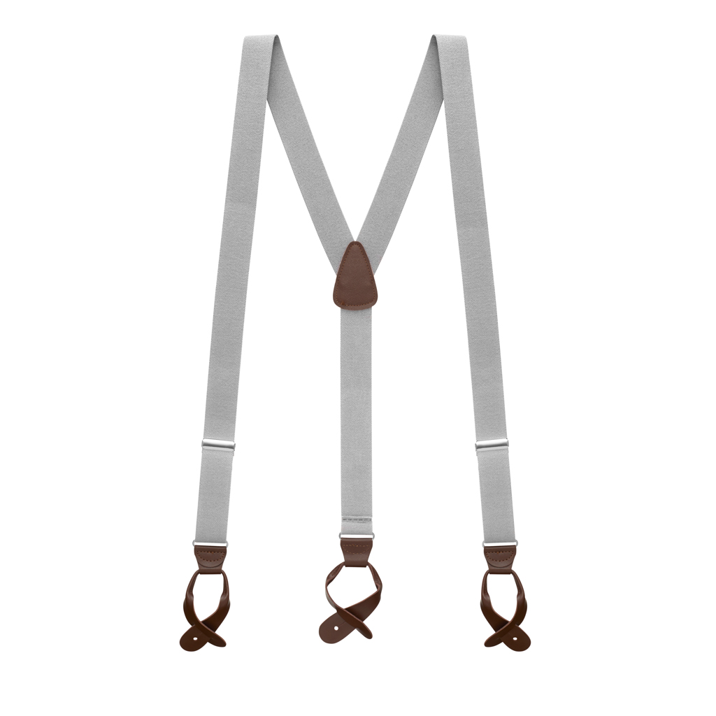 1.25 In Wide Button Suspenders - LIGHT GREY with Brown Leather