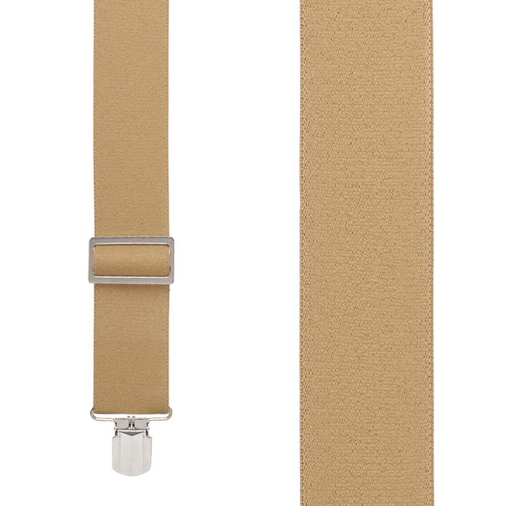 Big & Tall Logger Suspenders in Tan - Front View