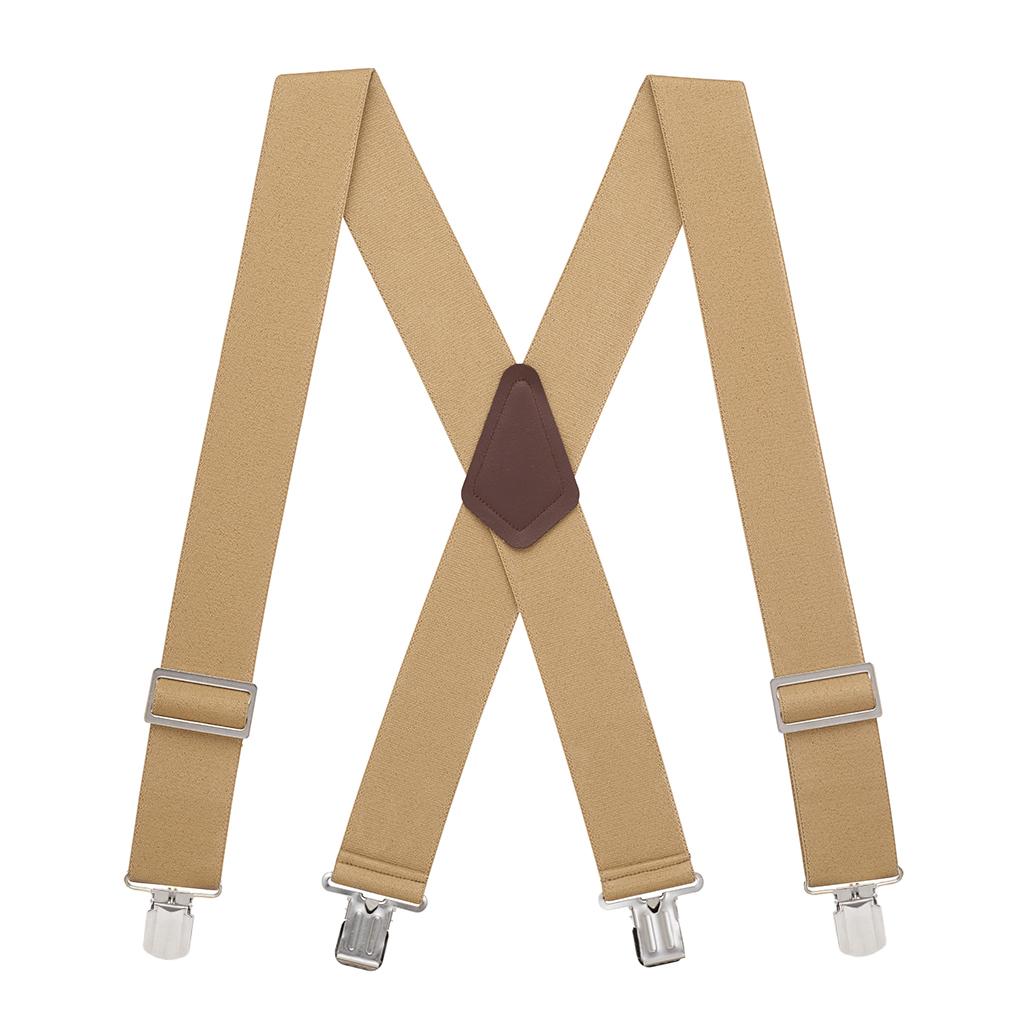Big & Tall Logger Suspenders in Tan - Full View