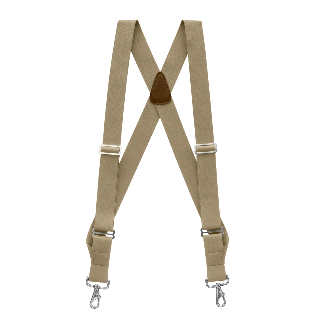 Side Clip Suspenders, 1.5-Inch Wide - Trigger Snap Beige Full View