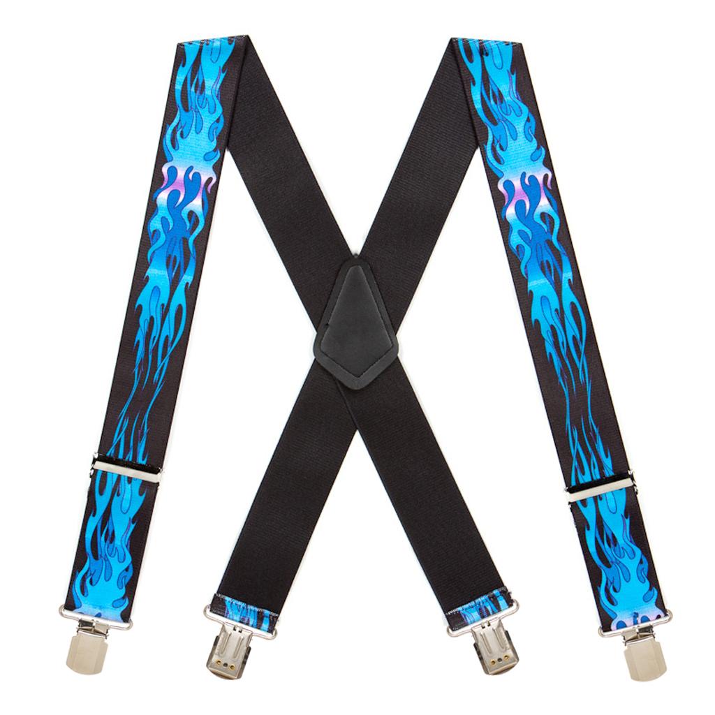 Blue Flames Suspenders - Full View