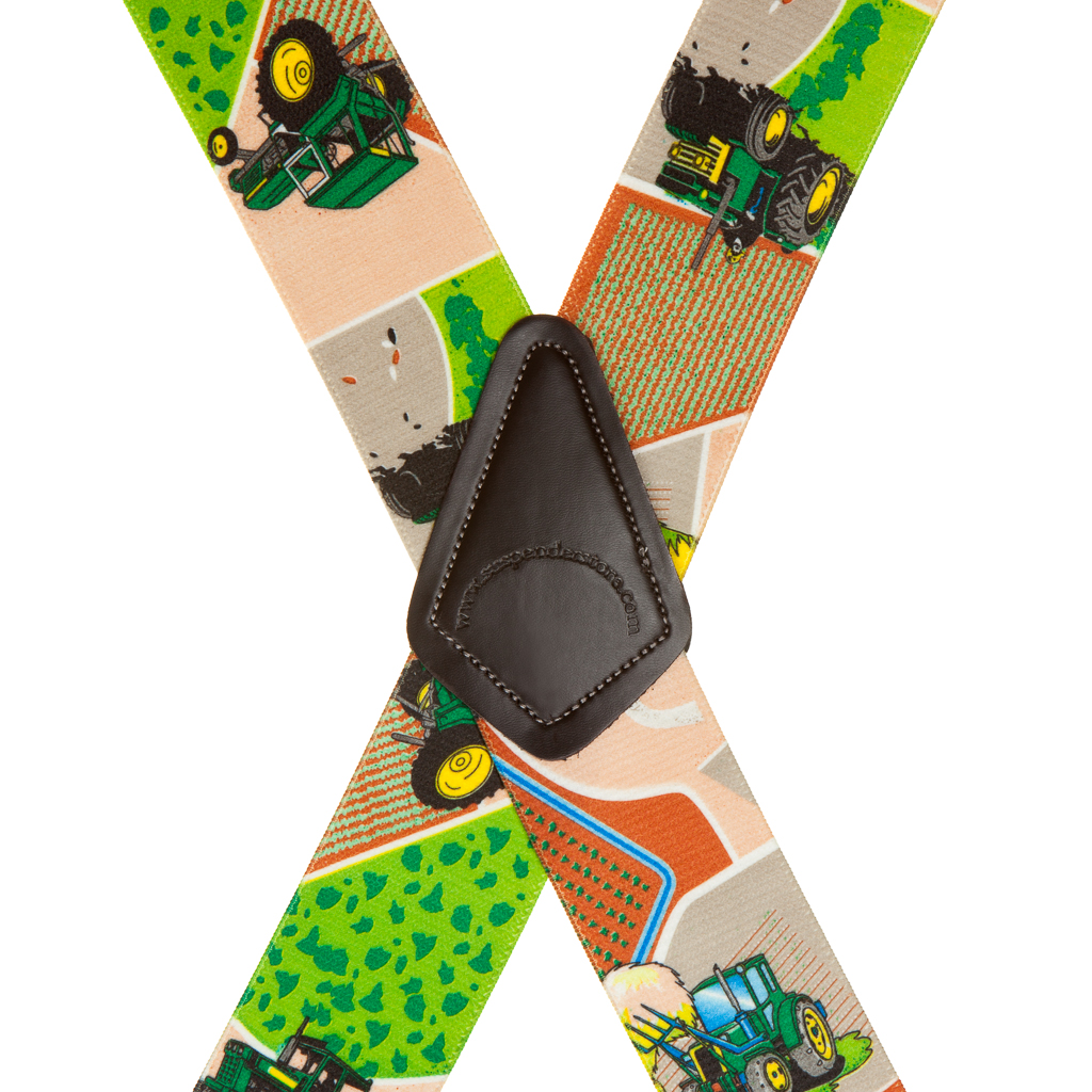 Green Tractors Suspenders - Rear View