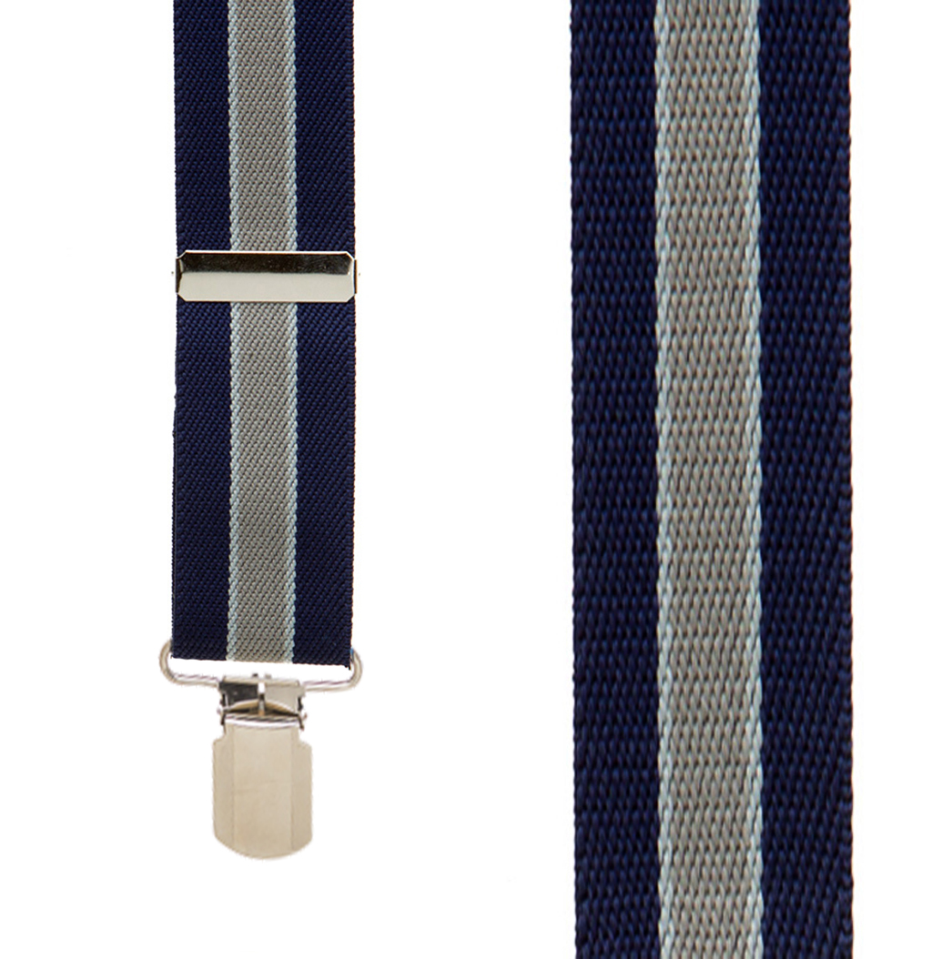 Front View - 1.5 Inch Wide PIN CLIP Suspenders Navy/Grey Stripe