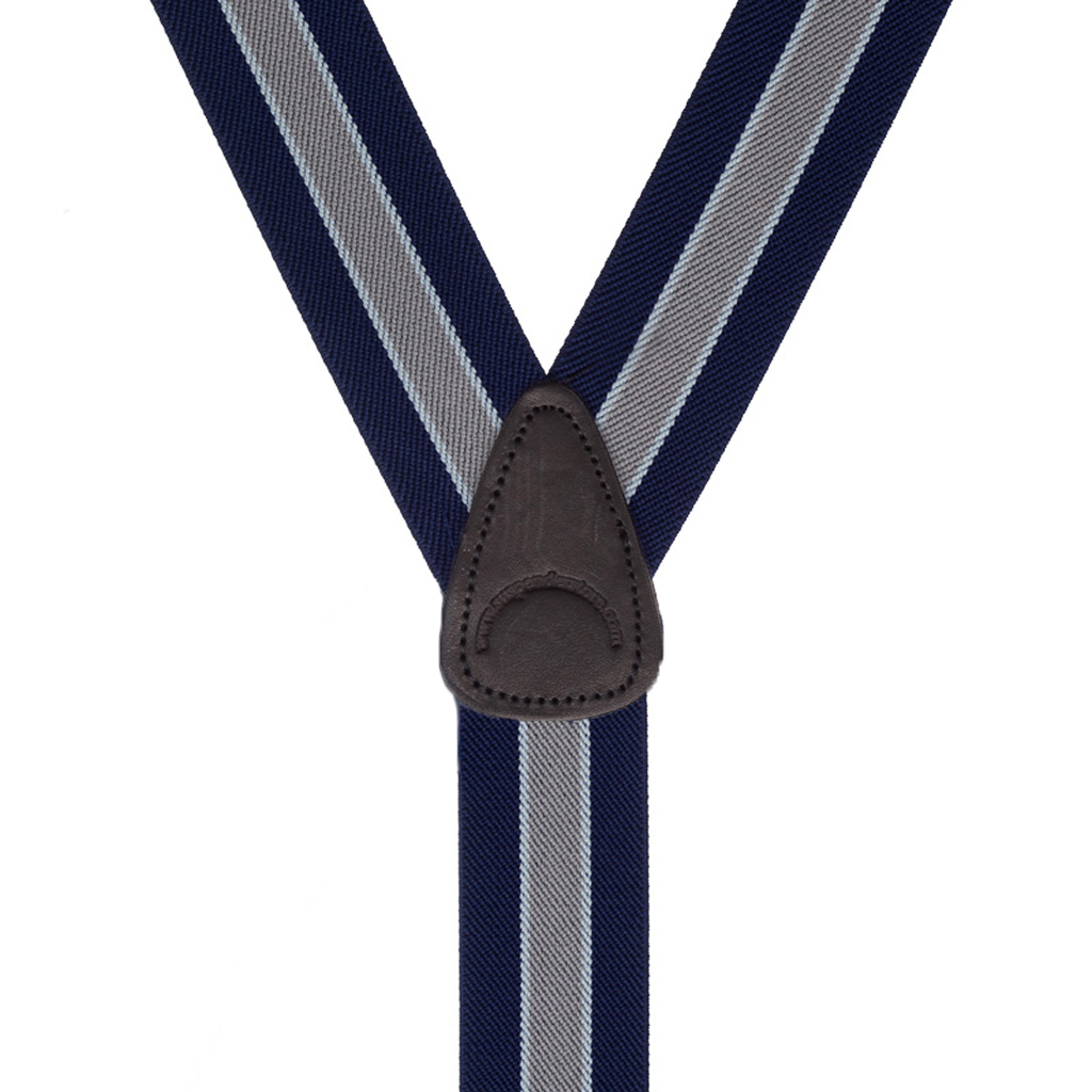 Rear View - 1.5 Inch Wide PIN CLIP Suspenders Navy/Grey Stripe