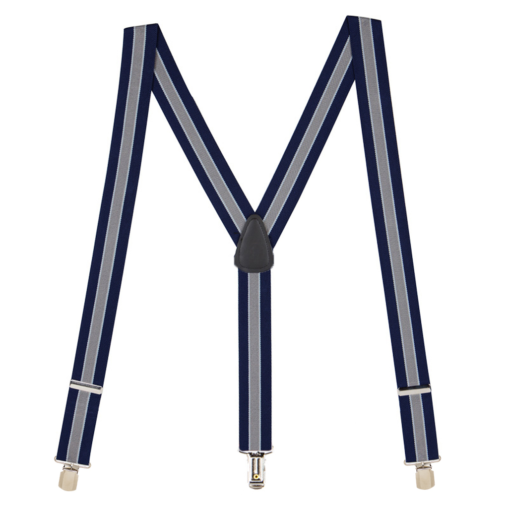Full View - 1.5 Inch Wide PIN CLIP Suspenders Navy/Grey Stripe