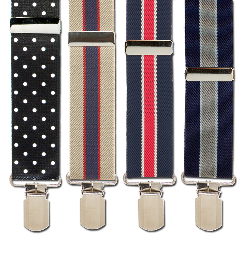 1.5 Inch Wide PIN CLIP Suspenders: Stripes & Polka Dots