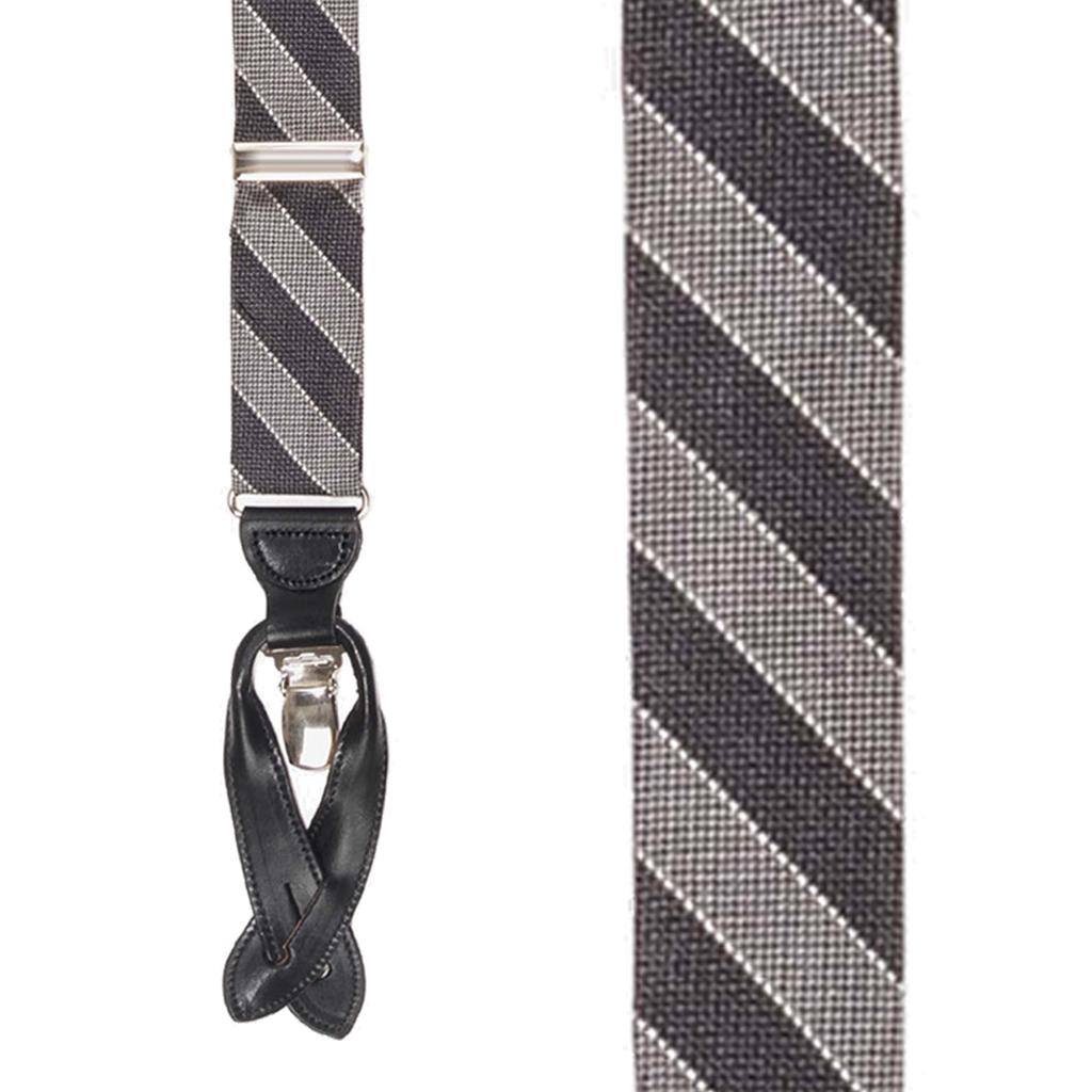 Diagonal Stripe Silk Suspenders