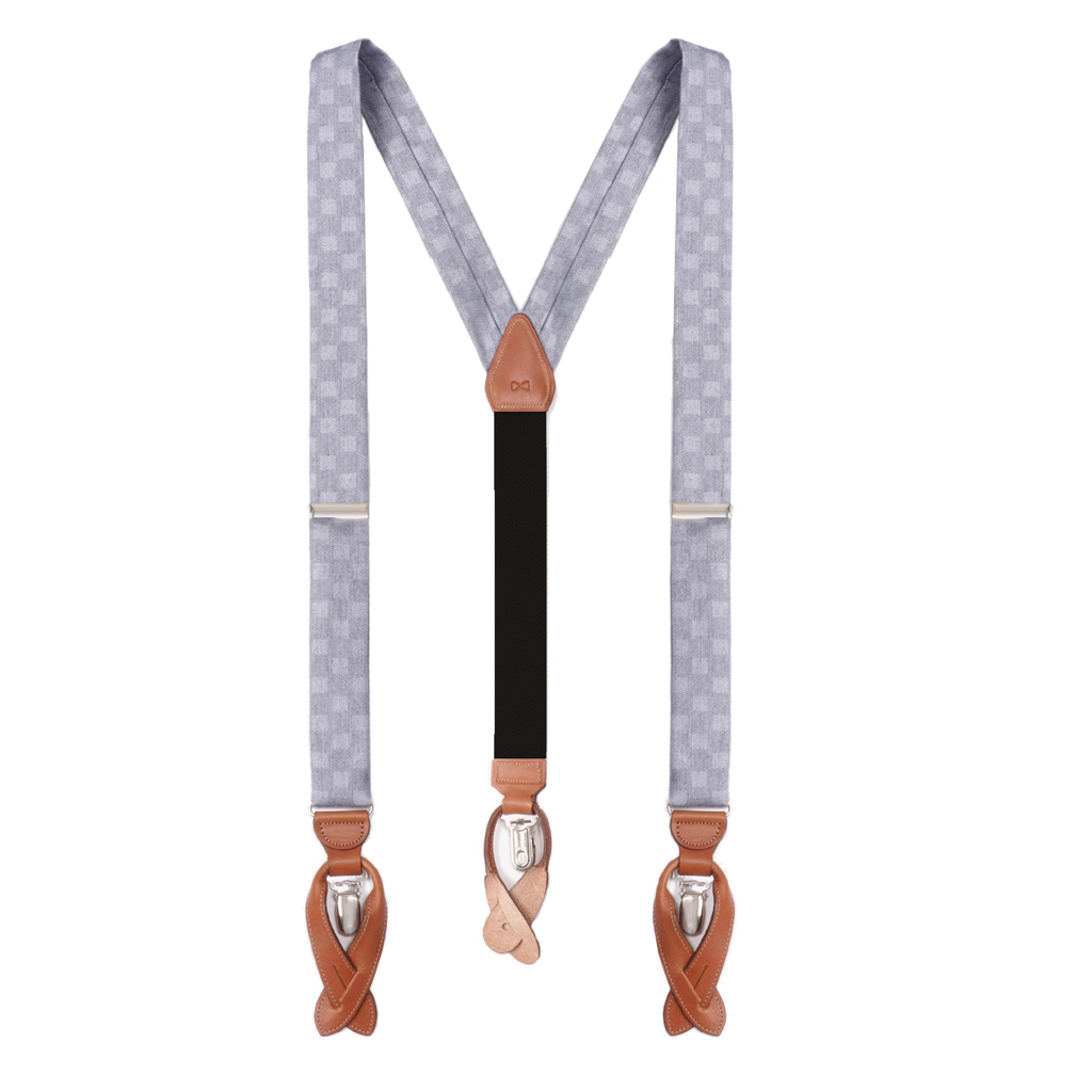 Checkered Silk Suspenders - Full View